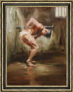 """Original Oil Painting art gay male nude Bathing on canvas 24""""X36"""""""