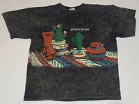 Grand Canyon VTG 90s Black Acid Wash Single Stitch Oneita T Shirt Mens L USA