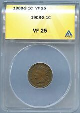 1908 S Indian Cent - ANACS VF-25 (0393)