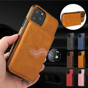 Leather Magnetic Card Holder Stand Case Cover For iPhone 12 Pro Max 11 XS Max XR