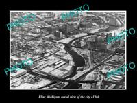 OLD LARGE HISTORIC PHOTO OF FLINT MICHIGAN AERIAL VIEW OF THE CITY c1960 2