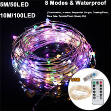 5M 50Led USB Copper Wire Fairy String Light With Remote Control Xmas RGB Party