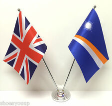 Union Jack GB & Marshall Islands Flags Chrome & Satin Table Desk Flag Set