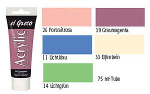 Acrylfarben Set 5-teilig, Pastellfarben Acrylfarbe, Acrylfarben pastell el Greco