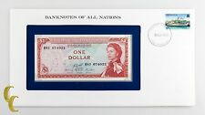 1980 East Caribbean One Dollar $1 in Banknotes of All Nations Stamped Envelope