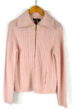 Ralph Lauren Soft Wool Angora Blend Cable Knit Sweater Size L Full Zip Pink