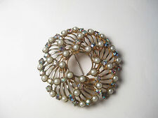 Vintage 1950's Pinwheel or Spiral Faux Pearl & A.B. Rhinestone Open Brooch