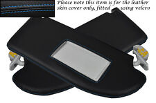 BLUE STITCH FITS SEAT IBIZA MK4 CORDOBA 02-08 2X SUN VISORS LEATHER COVERS ONLY