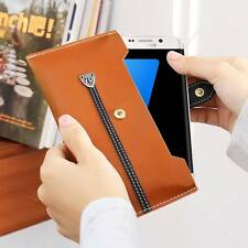 For iPhone SE 5s 6s 7 Plus Samsung Universal Wallet Leather Case Cover Phone Bag