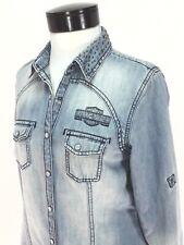 HARLEY DAVIDSON Denim Shirt Western Pearl Snap Studs Biker Logo Womens M/S