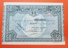 @PUNTO de AGUJA@ BILBAO 50 Pesetas 1937 BANCO DE VIZCAYA Pick S564 BILLETE SC