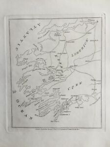 1807 Antique Map; Counties Limerick, Kerry & Cork by Isaac Weld