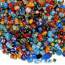 GXX4443L Assorted Color Mixed Shape 4-20mm Millefiori Flower Glass Beads 16oz