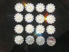 10x Sparkling Rhinestone Buttons Diamante Pearl Embellishment DIY Wholesale New