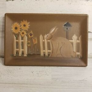 Primitive Wooden Tray Donna White Hearthside Collection Rabbit Flowers Fence
