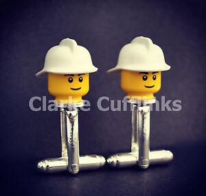 LEGO ® Mini Figure FIREMAN CUFFLINKS - SILVER PLATED- NOVELTY DAD BIRTHDAY GIFT