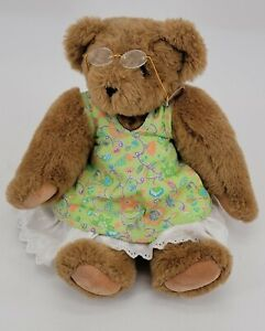 Vintage Vermont Teddy Bear Brown Jointed Plush Doll Floral Shirt Skirt W Glasses