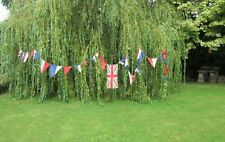 Vintage Union Jack flag colours red white & blue bunting with 30 pennant flags B
