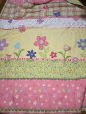 Pretty DYR Girls Pink Green Flowers Butterflies Quilted Cotton Comforter Full