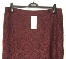 M&S Ladies Dark Red Skirt Lace Scallop Hem Pencil 18 BNWT Marks PerUna £45