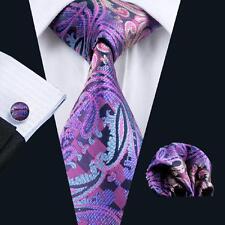 USA Classic Purple Paisely Tie Jacquard Mens Necktie Set Wedding Cufflinks C638