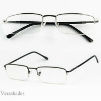 New Black Metal Fashion Readers Rectangle Reading Glasses with Spring Hinge