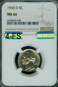 1968-D JEFFERSON NICKEL NGC MAC MS66 4-FS EXTREMELY RARE 2ND FINEST $20,000 5-FS
