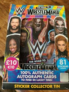 TOPPS WW THE ROAD TO WRESTLE MANIA STICKER COLLECTOR TIN WW WRESTLING STICKERS