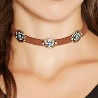 Soft Leather Brown Choker Necklace with Silver & Turquoise Concho Bohemian Boho