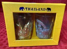 Set of 2 Thailand Whiskey Shot Glasses Unique Style Glass Liquor