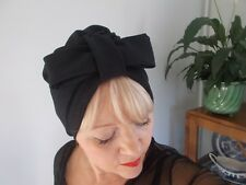 TURBAN black viscose VINTAGE LOOK 1940s 50s SWING HAT HEAD SCARF HAIR bow pin up
