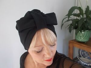 TURBAN black JERSEY VINTAGE LOOK 1940s 50s SWING HAT HEAD SCARF HAIR bow pin up