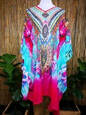 Plus Size Sheer Chiffon Embellished Kaftan Digital Printed Size 18-20-22-24-26