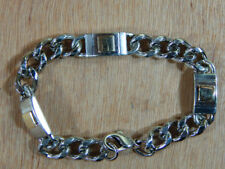 Sterling Silver with 14K Yellow Gold Inset Chain Bracelet Marked Signed