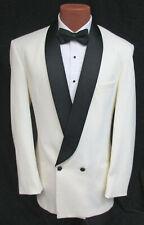 Men's Ivory Double Breasted Tuxedo Jacket with Black Satin Shawl Lapels 37S