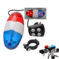 6 LED 4 Tone Sounds Bike Bicycle Horn Bell Police Car Light Siren Sound Trumpet