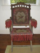 E H Mahoney Folding Chair Wood  Red Carpet Flying Bird Eagle From the 1800s