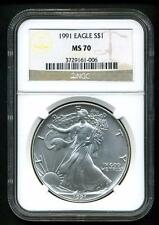 1991 $1 AMERICAN SILVER EAGLE NGC MS70 - SPOTLESS - VERY RARE IN NGC70