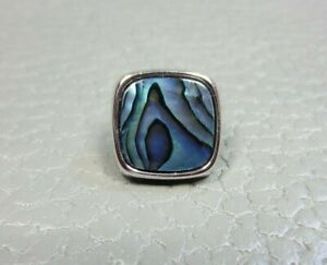 Vintage Irridescent Blue Agate White Gold Plated Tie Tac or Lapel Pin