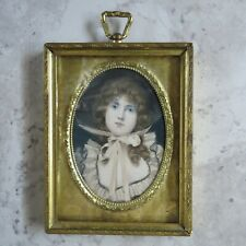 Antique Gold metal Frame behind glass Miniature Portrait lithograph hand colored