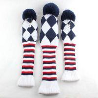 USA Ship knit Vintage Pom Pom Headcover 3-pc Set Head cover golf club headcovers