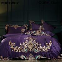 Egyptian Cotton Luxury European Embroidery Bedding Set Cover Sheet Pillowcases