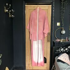 Vintage Pink Pure Silk Full Length Long Kimono Dressing Gown