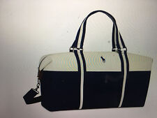 Ralph Lauren Polo Large Duffle Gym weekender carry-on travel bag Blue White NEW