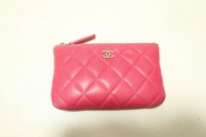 Authentic CHANEL magenta Camellia Embossed makeup bag Pouch  #7645