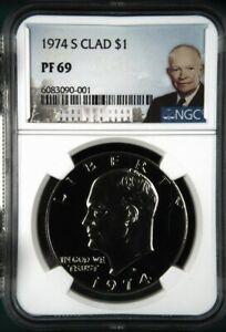 1974 S CLAD Proof $1 Eisenhower - NGC PF 69