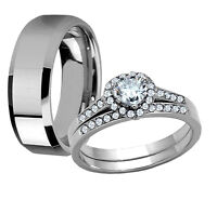 Men's Women's Stainless Steel Heart Cut CZ Engagement Wedding Ring Band Set