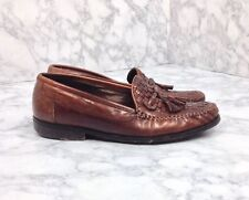 Johnston & Murphy Mens Med Brown Leather Woven Weave Tassel Loafers Shoes 9M