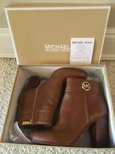 Michael Kors Alson Luggage Leather Zip Bootie Size 9.5 New $185 ONLY ONE ON EBAY