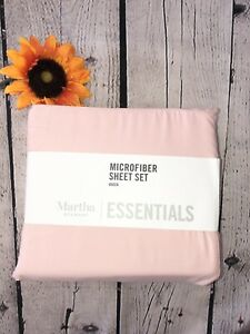 Martha Stewart Essentials Queen Sheet Set Microfiber Rose pink New